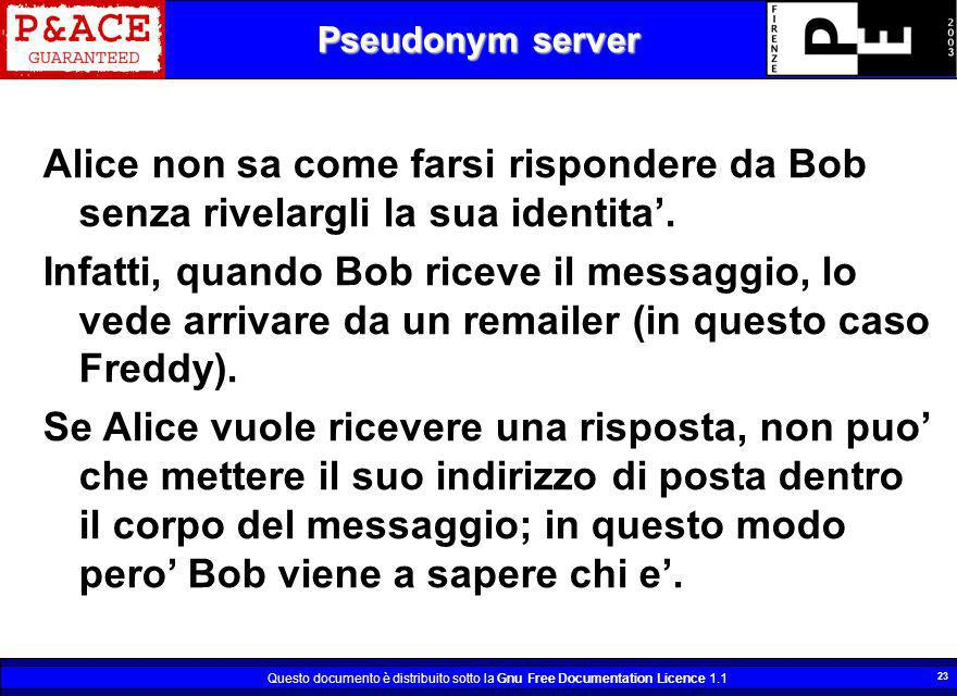 Questo documento è distribuito sotto la Gnu Free Documentation Licence 1.1 23 Pseudonym server Alice non sa come farsi rispondere da Bob senza rivelargli la sua identita.