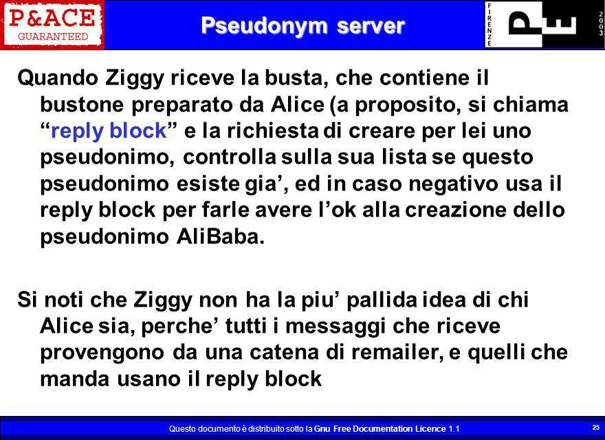 Questo documento è distribuito sotto la Gnu Free Documentation Licence 1.1 25 Pseudonym server Quando Ziggy riceve la busta, che contiene il bustone p
