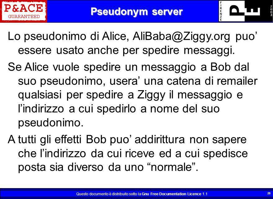 Questo documento è distribuito sotto la Gnu Free Documentation Licence 1.1 28 Pseudonym server Lo pseudonimo di Alice, AliBaba@Ziggy.org puo essere us