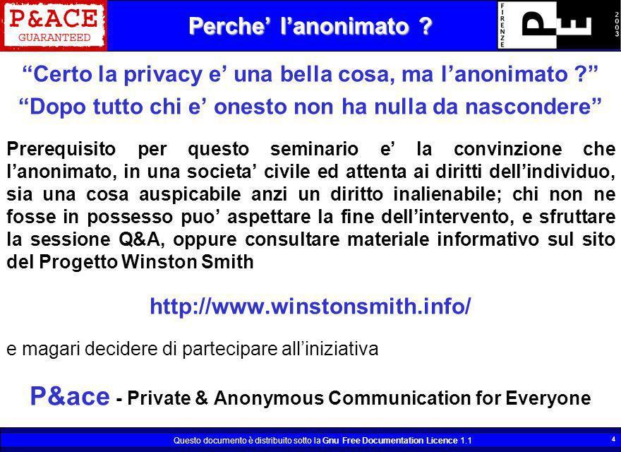 Questo documento è distribuito sotto la Gnu Free Documentation Licence 1.1 4 Perche lanonimato ? Certo la privacy e una bella cosa, ma lanonimato ? Do