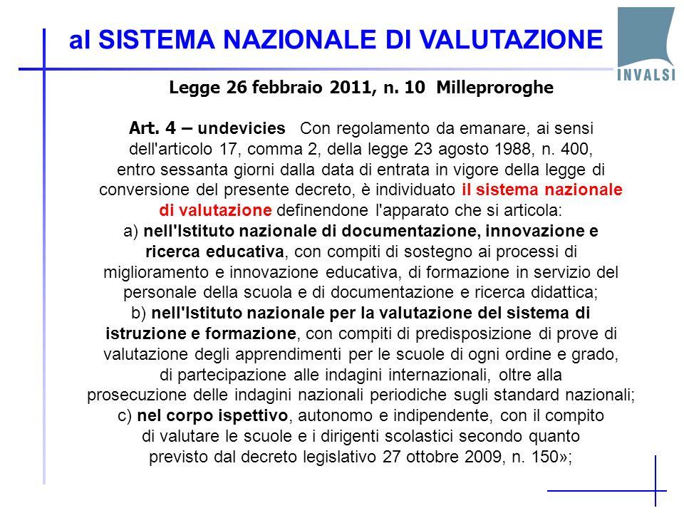 al SISTEMA NAZIONALE DI VALUTAZIONE Legge 26 febbraio 2011, n.