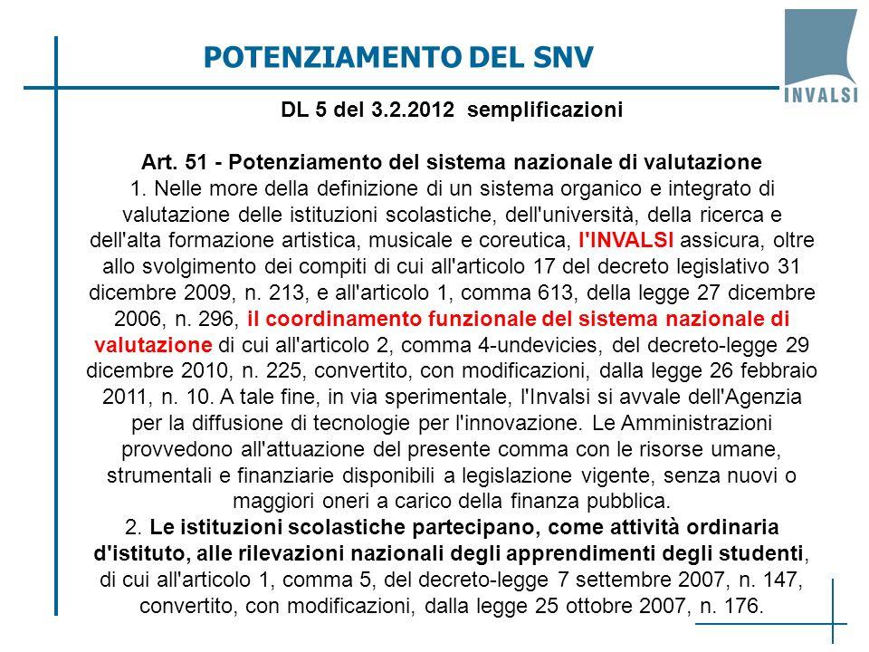 POTENZIAMENTO DEL SNV DL 5 del 3.2.2012 semplificazioni Art.