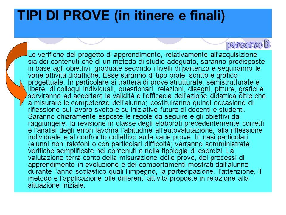 TIPI DI PROVE (in itinere e finali) Le verifiche del progetto di apprendimento, relativamente allacquisizione sia dei contenuti che di un metodo di st