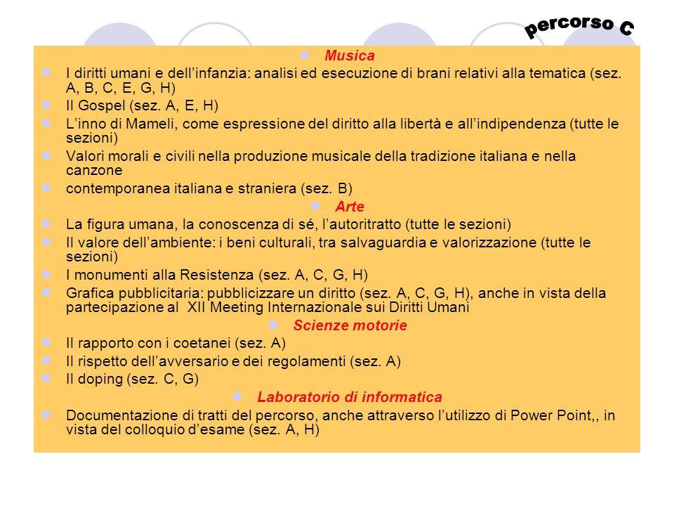 Musica I diritti umani e dellinfanzia: analisi ed esecuzione di brani relativi alla tematica (sez. A, B, C, E, G, H) Il Gospel (sez. A, E, H) Linno di