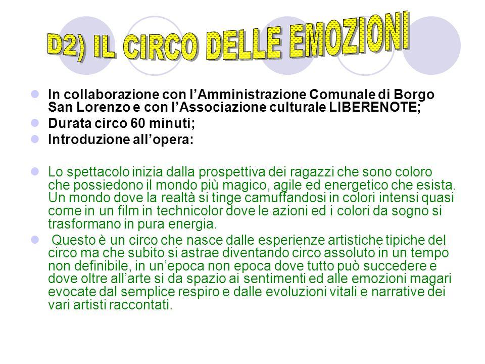 In collaborazione con lAmministrazione Comunale di Borgo San Lorenzo e con lAssociazione culturale LIBERENOTE; Durata circo 60 minuti; Introduzione al