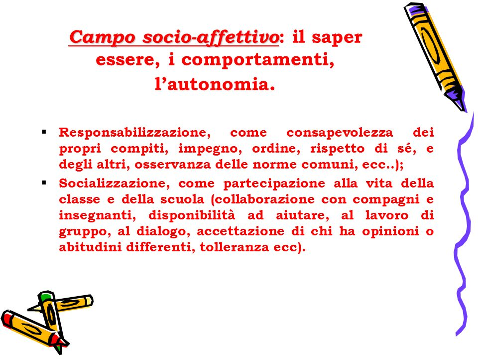 Campo socio-affettivo Campo socio-affettivo : il saper essere, i comportamenti, lautonomia. Responsabilizzazione, come consapevolezza dei propri compi