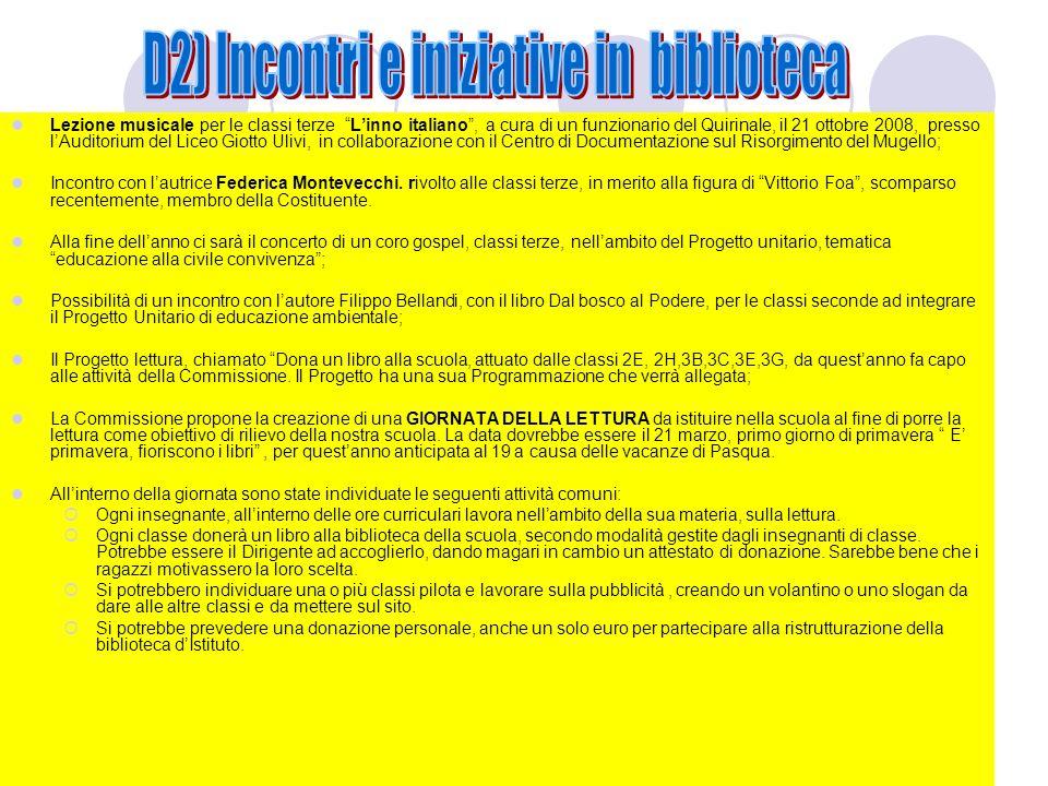 Lezione musicale per le classi terze Linno italiano, a cura di un funzionario del Quirinale, il 21 ottobre 2008, presso lAuditorium del Liceo Giotto U