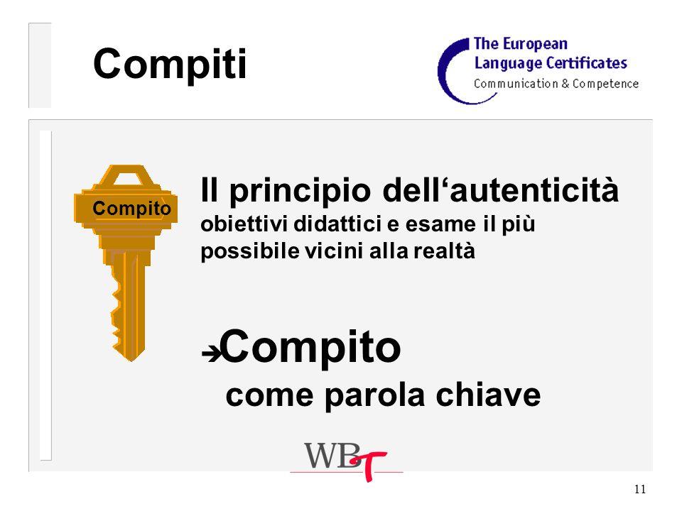 11 Compiti Il principio dellautenticità obiettivi didattici e esame il più possibile vicini alla realtà è Compito come parola chiave Compito