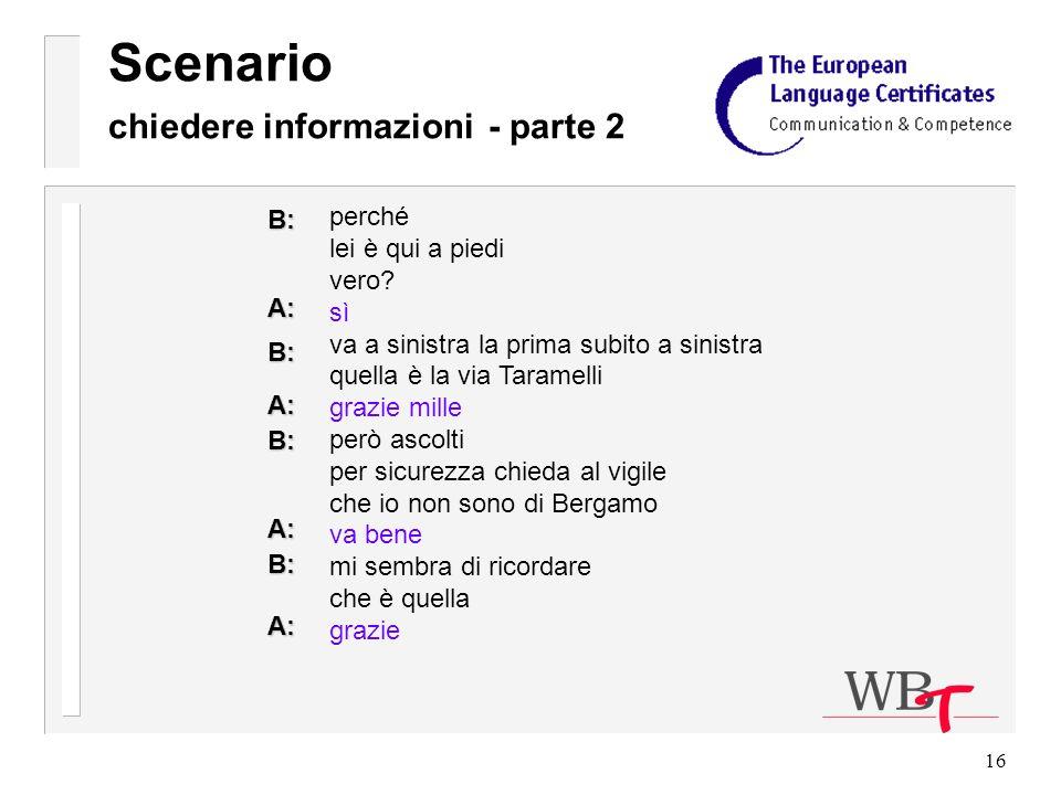 16 Scenario chiedere informazioni - parte 2 perché lei è qui a piedi vero.