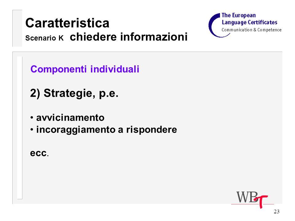 23 Caratteristica Scenario K chiedere informazioni Componenti individuali 2) Strategie, p.e.