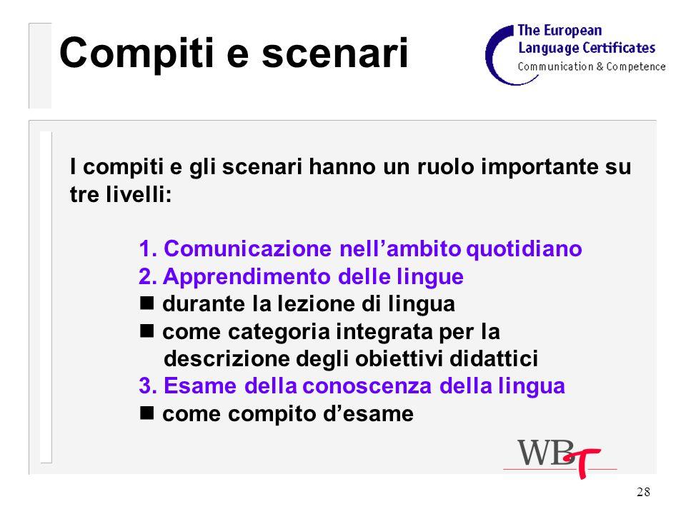 28 Compiti e scenari I compiti e gli scenari hanno un ruolo importante su tre livelli: 1.