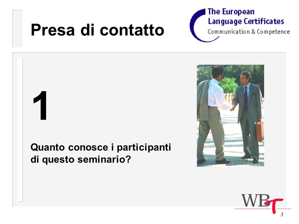 3 Presa di contatto 1 Quanto conosce i participanti di questo seminario?