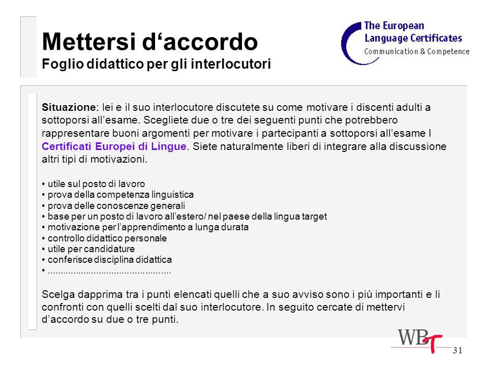 31 Mettersi daccordo Foglio didattico per gli interlocutori Situazione: lei e il suo interlocutore discutete su come motivare i discenti adulti a sottoporsi allesame.