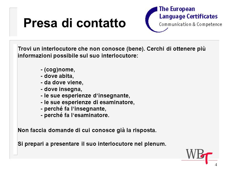 65 Comportamento degli esaminatori Inizio dellesame Presenti sé e il secondo esaminatore al candidato: Proposta: Buongiorno, il mio nome è...