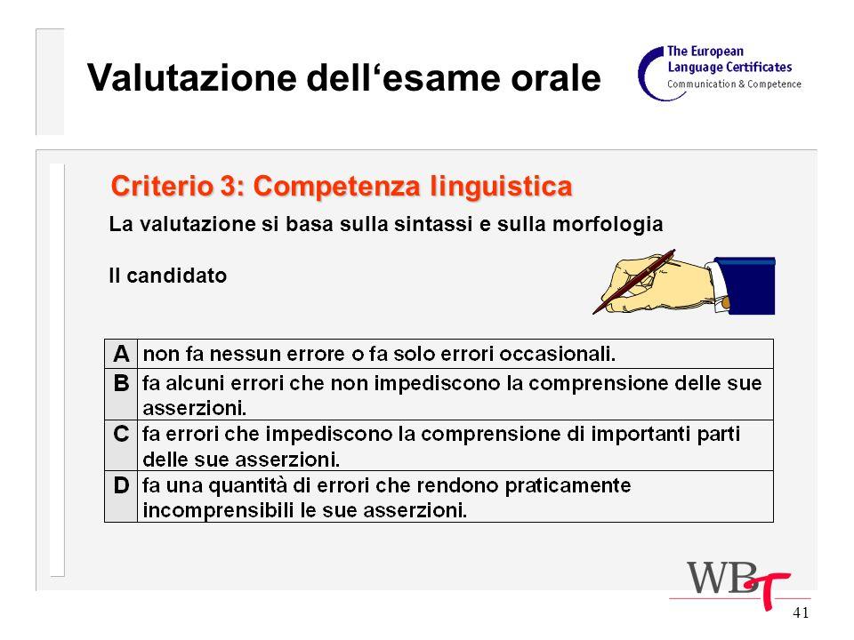 41 Criterio 3: Competenza linguistica La valutazione si basa sulla sintassi e sulla morfologia Il candidato Valutazione dellesame orale