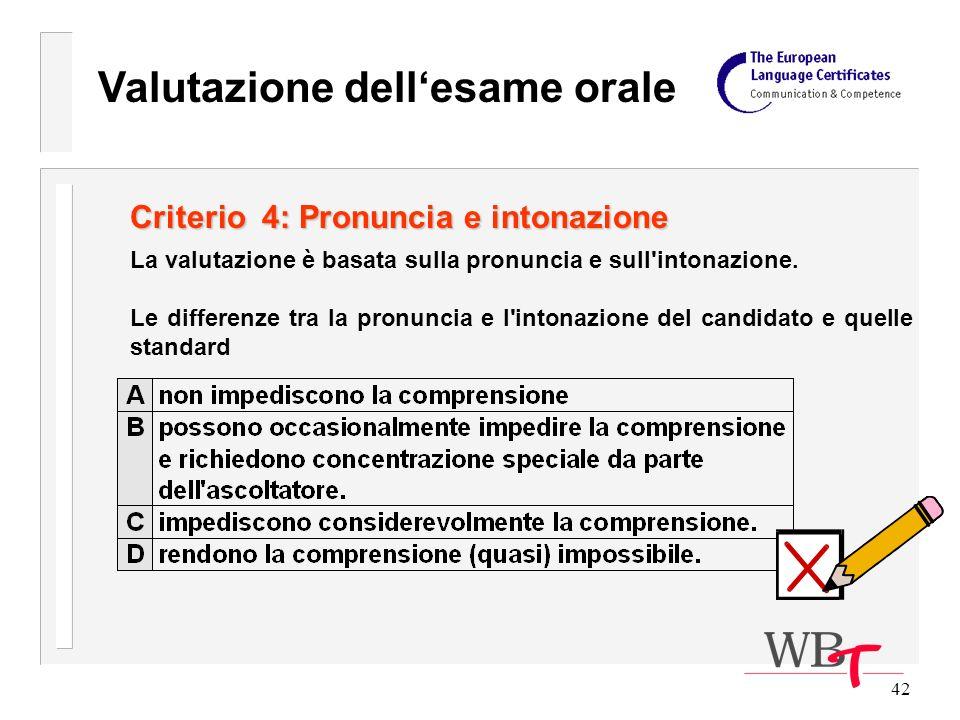 42 Criterio 4: Pronuncia e intonazione La valutazione è basata sulla pronuncia e sull intonazione.