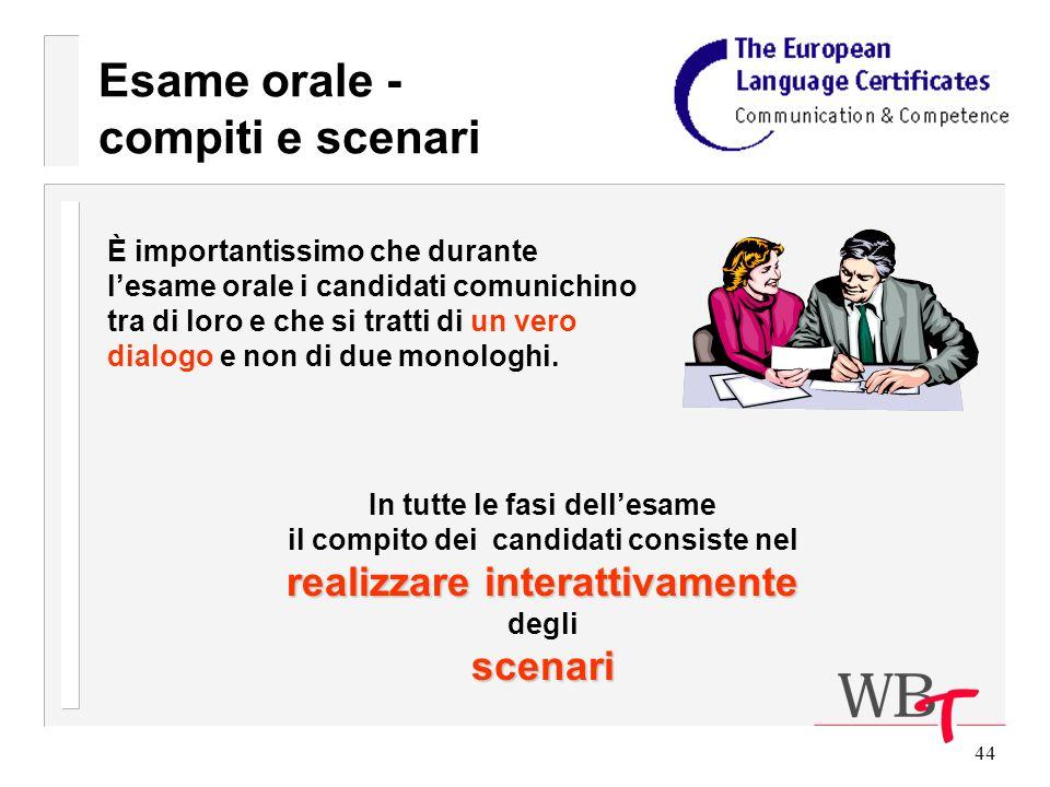 44 Esame orale - compiti e scenari È importantissimo che durante lesame orale i candidati comunichino tra di loro e che si tratti di un vero dialogo e non di due monologhi.