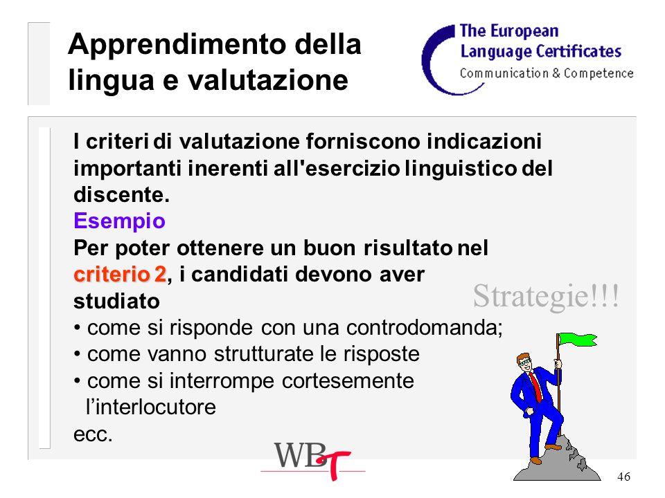 46 Apprendimento della lingua e valutazione I criteri di valutazione forniscono indicazioni importanti inerenti all esercizio linguistico del discente.
