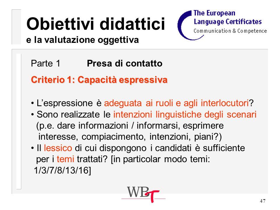 47 Obiettivi didattici e la valutazione oggettiva Criterio 1: Capacità espressiva Lespressione è adeguata ai ruoli e agli interlocutori.