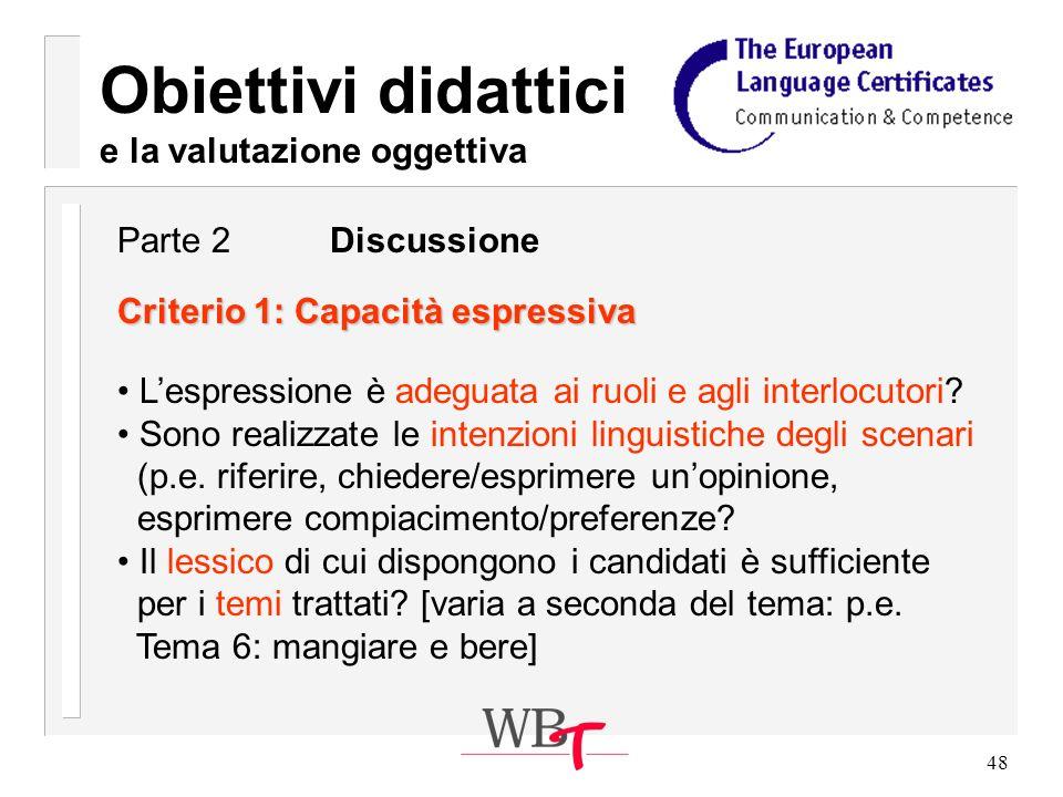 48 Obiettivi didattici e la valutazione oggettiva Criterio 1: Capacità espressiva Lespressione è adeguata ai ruoli e agli interlocutori.
