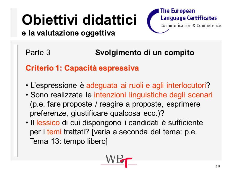 49 Obiettivi didattici e la valutazione oggettiva Criterio 1: Capacità espressiva Lespressione è adeguata ai ruoli e agli interlocutori.