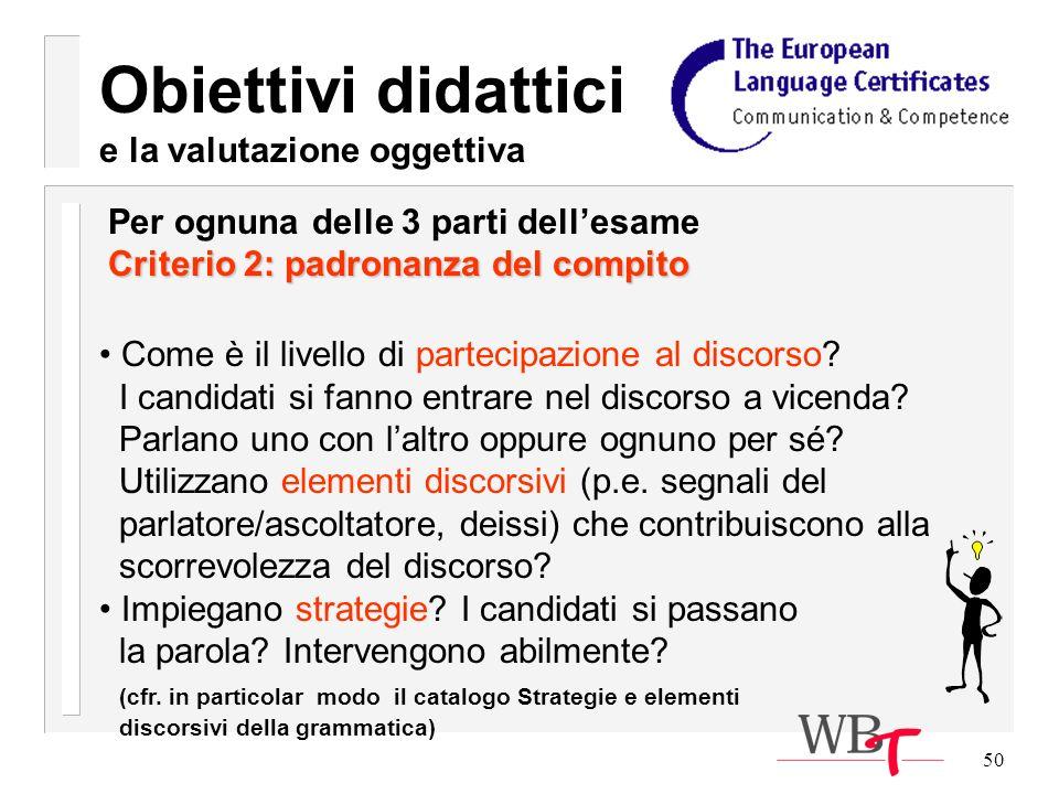50 Obiettivi didattici e la valutazione oggettiva Come è il livello di partecipazione al discorso.