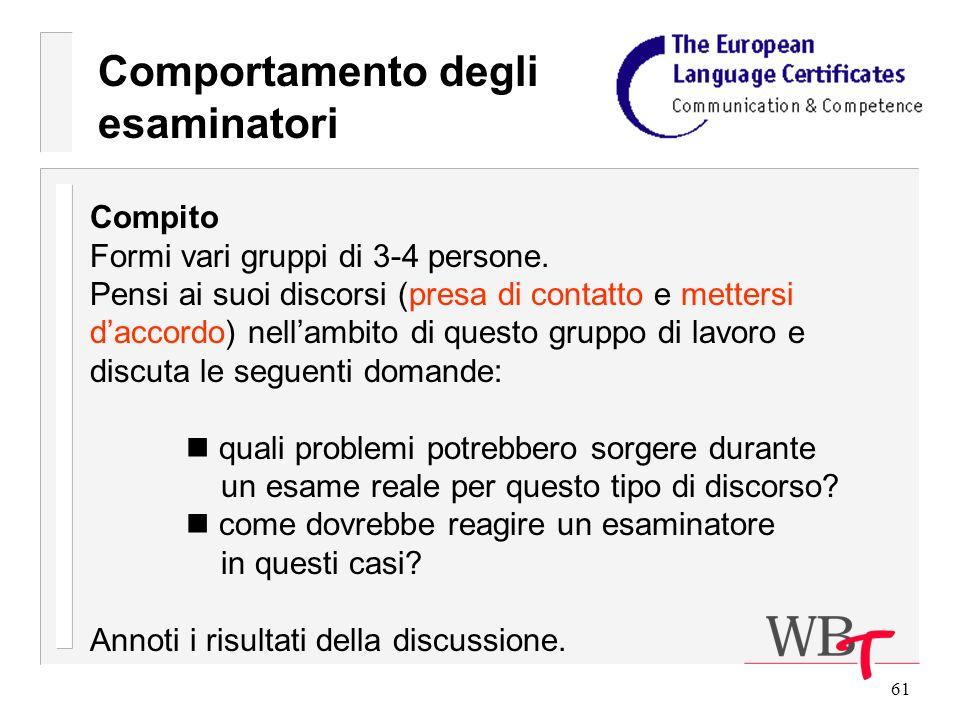 61 Comportamento degli esaminatori Compito Formi vari gruppi di 3-4 persone.