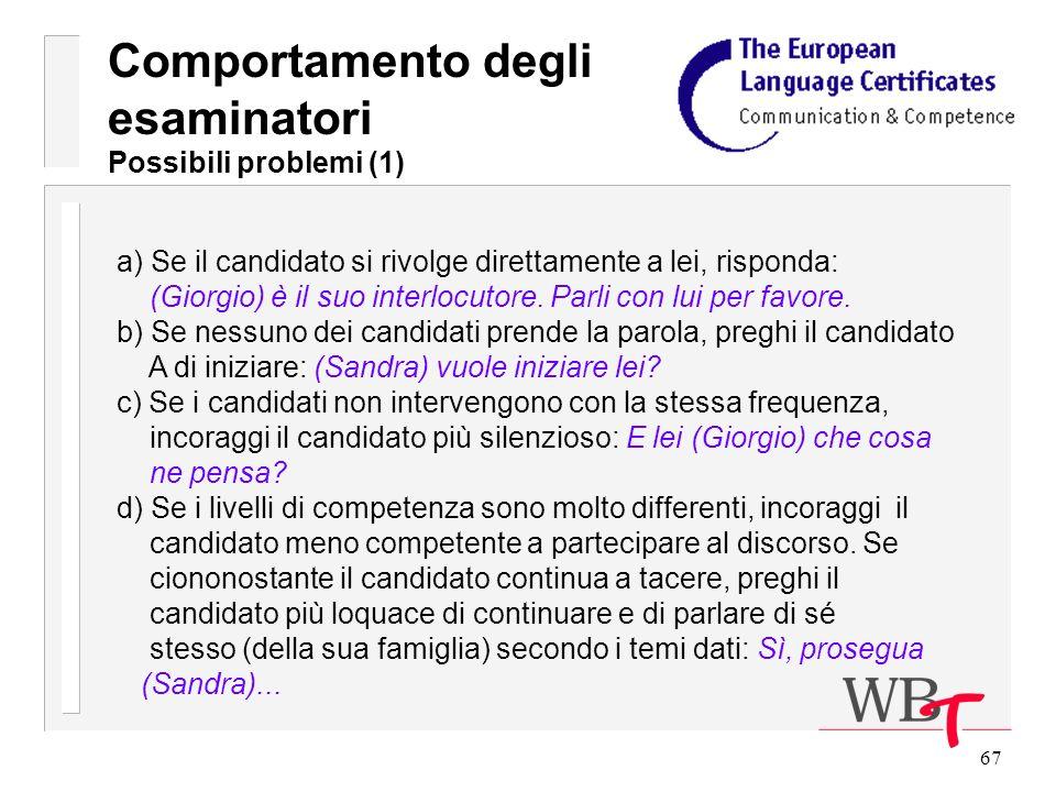 67 a) Se il candidato si rivolge direttamente a lei, risponda: (Giorgio) è il suo interlocutore.