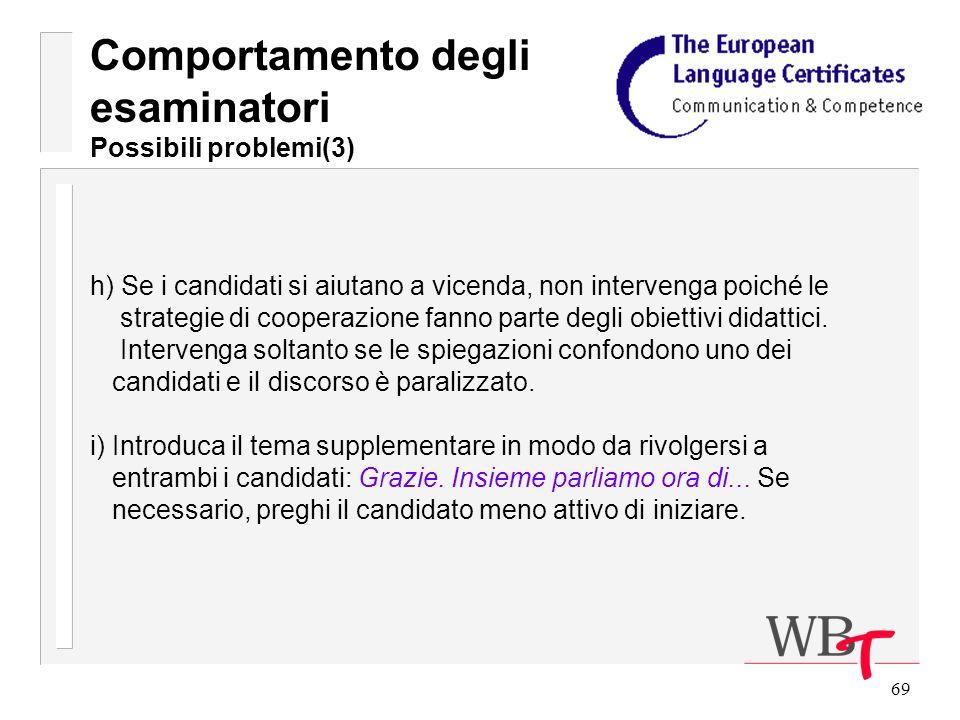 69 h) Se i candidati si aiutano a vicenda, non intervenga poiché le strategie di cooperazione fanno parte degli obiettivi didattici.