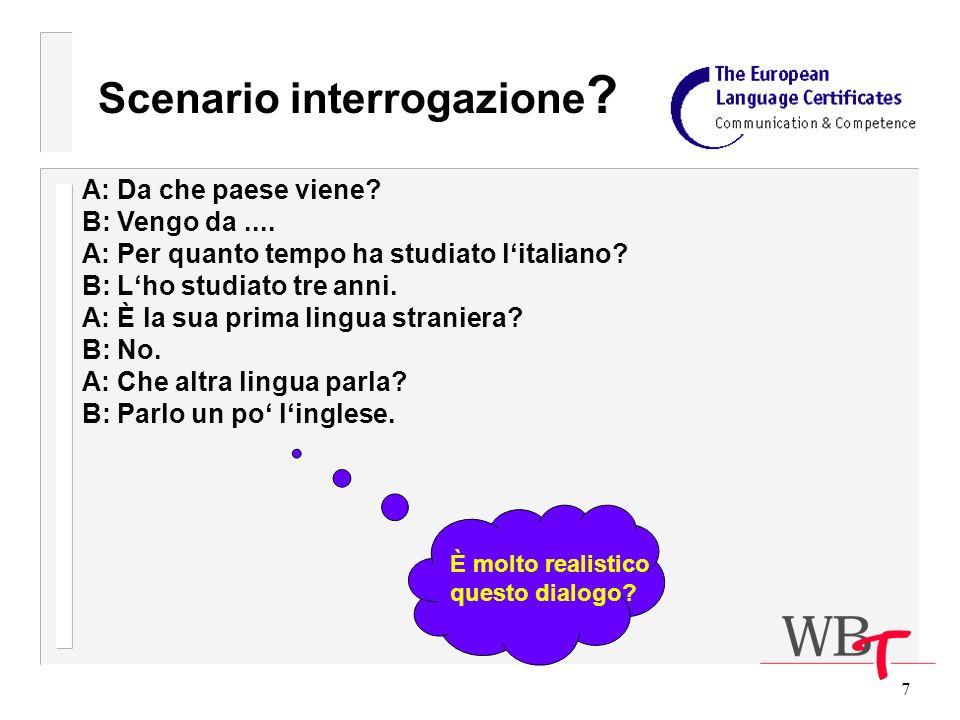 7 Scenario interrogazione . A: Da che paese viene.