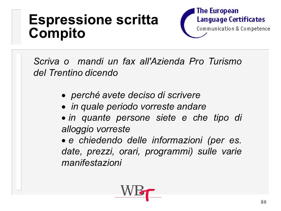 86 Scriva o mandi un fax all Azienda Pro Turismo del Trentino dicendo perché avete deciso di scrivere in quale periodo vorreste andare in quante persone siete e che tipo di alloggio vorreste e chiedendo delle informazioni (per es.