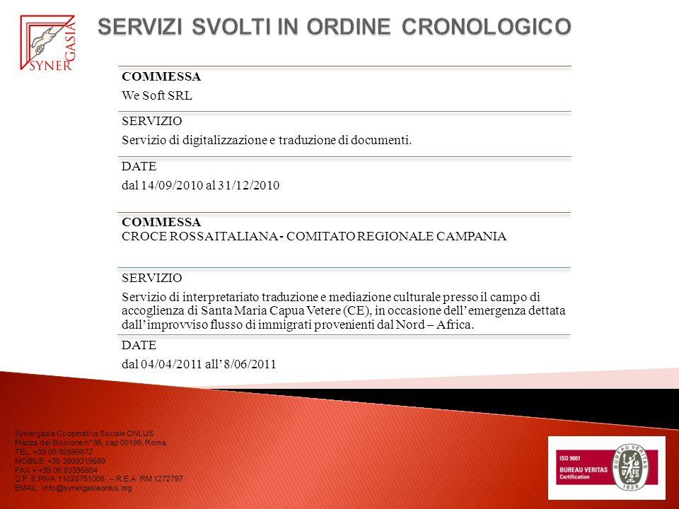 COMMESSA We Soft SRL SERVIZIO Servizio di digitalizzazione e traduzione di documenti. DATE dal 14/09/2010 al 31/12/2010 Synergasìa Cooperativa Sociale