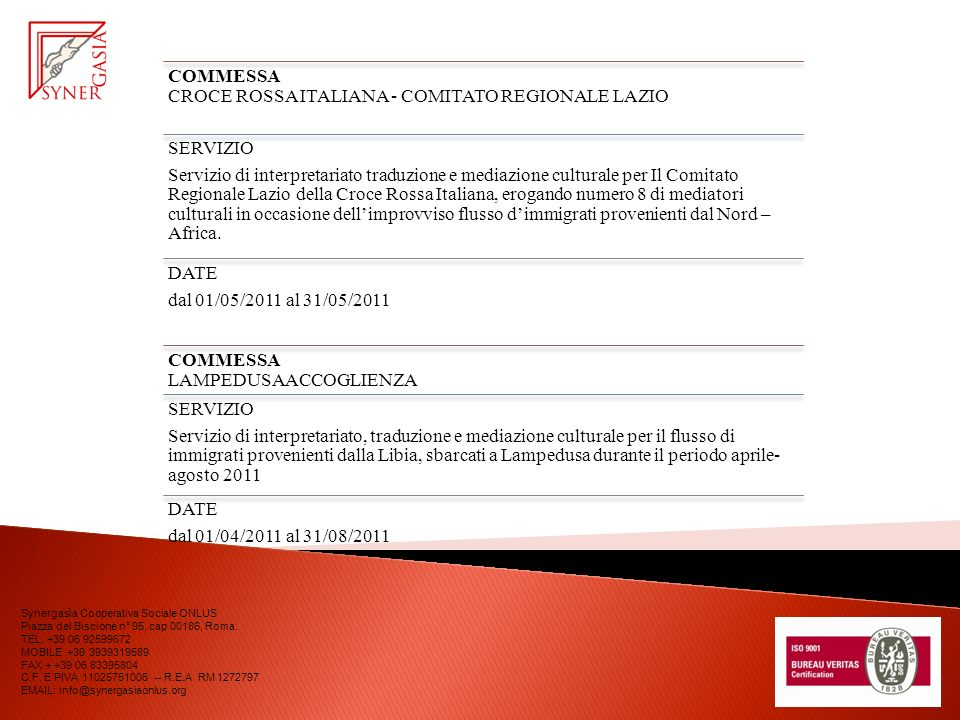 COMMESSA CROCE ROSSA ITALIANA - COMITATO REGIONALE LAZIO SERVIZIO Servizio di interpretariato traduzione e mediazione culturale per Il Comitato Regionale Lazio della Croce Rossa Italiana, erogando numero 8 di mediatori culturali in occasione dellimprovviso flusso dimmigrati provenienti dal Nord – Africa.