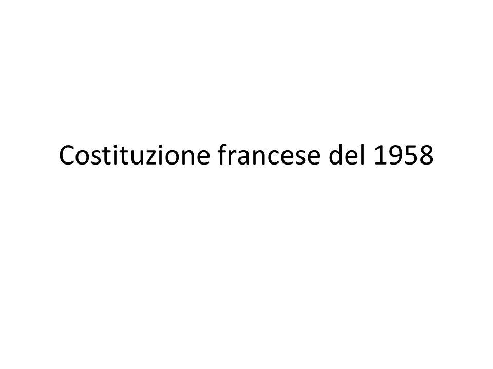 V Repubblica (forma di governo semipresidenziale) Manca una Dichiarazione dei Diritti.