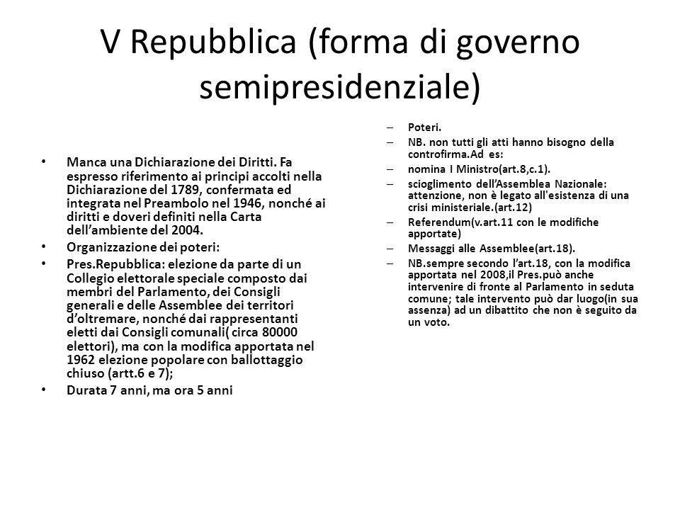 V Repubblica (forma di governo semipresidenziale) Manca una Dichiarazione dei Diritti. Fa espresso riferimento ai principi accolti nella Dichiarazione
