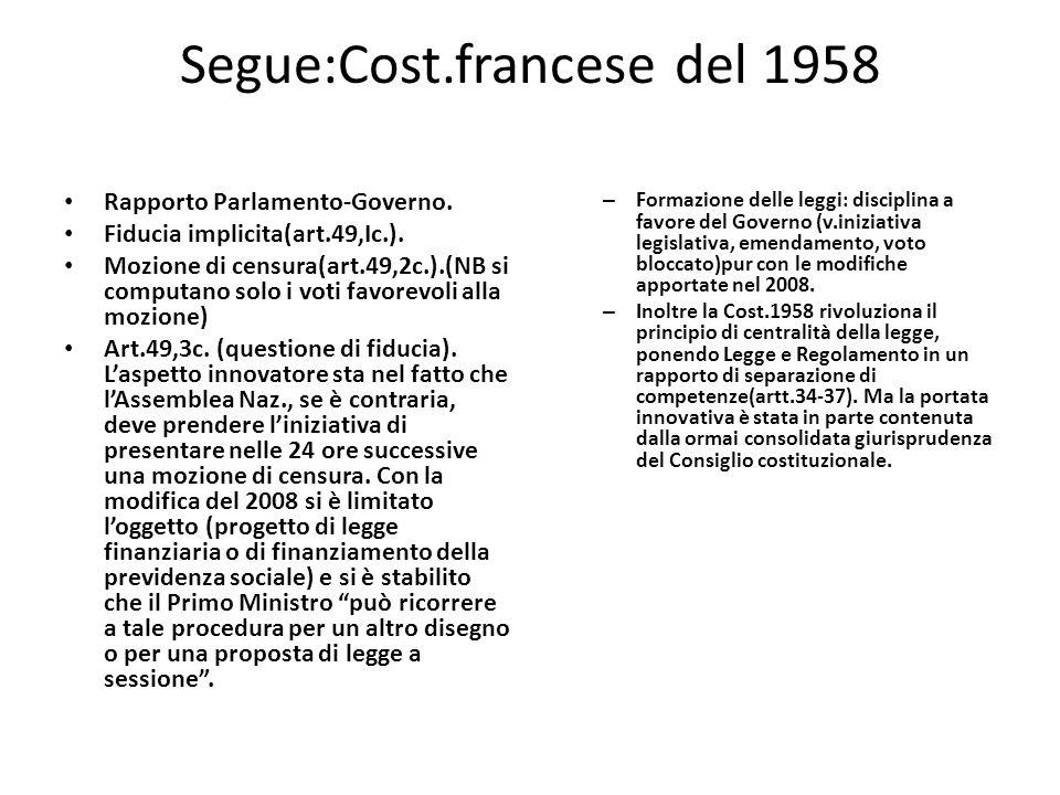 Segue:Cost.francese del 1958 Rapporto ParlamentoGoverno. Fiducia implicita(art.49,Ic.). Mozione di censura(art.49,2c.).(NB si computano solo i voti fa