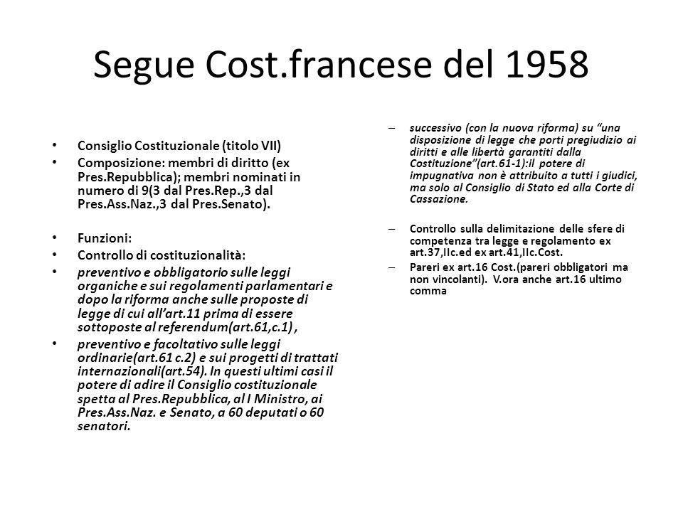 Segue Cost.francese del 1958 Consiglio Costituzionale (titolo VII) Composizione: membri di diritto (ex Pres.Repubblica); membri nominati in numero di
