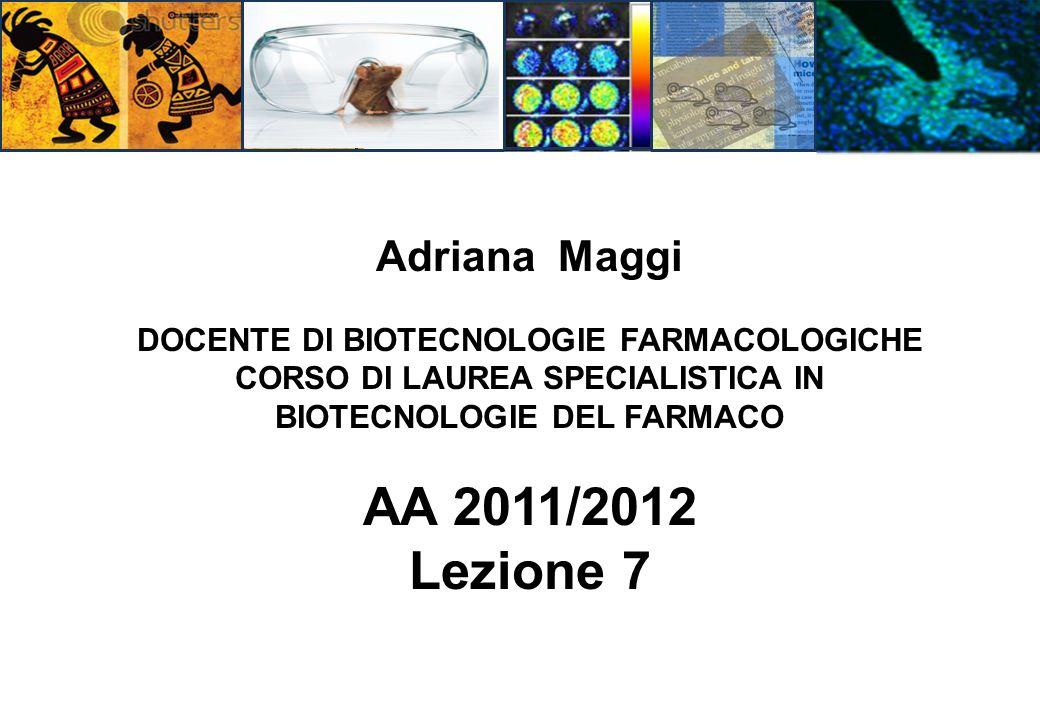 Adriana Maggi DOCENTE DI BIOTECNOLOGIE FARMACOLOGICHE CORSO DI LAUREA SPECIALISTICA IN BIOTECNOLOGIE DEL FARMACO AA 2011/2012 Lezione 7
