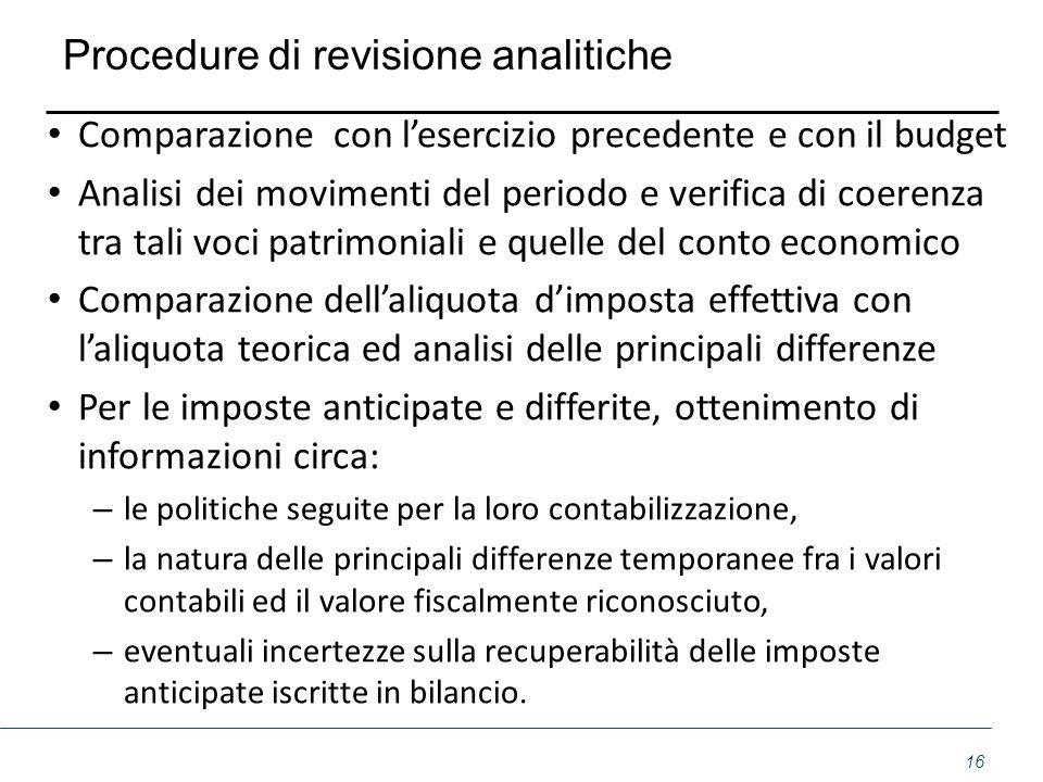 Procedure di revisione analitiche Comparazione con lesercizio precedente e con il budget Analisi dei movimenti del periodo e verifica di coerenza tra
