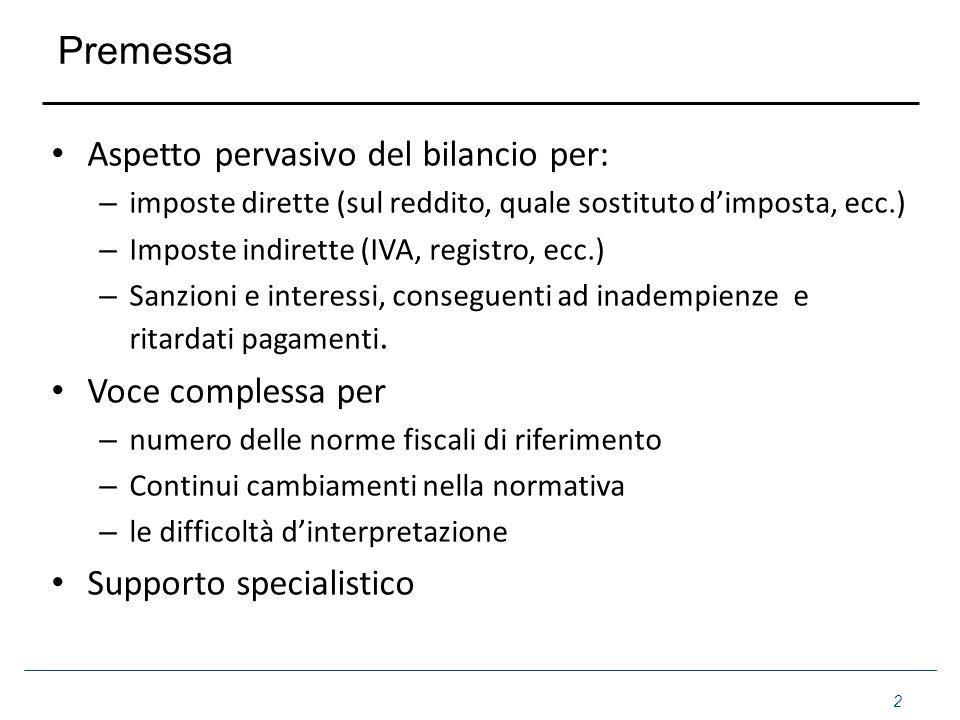 Premessa Aspetto pervasivo del bilancio per: – imposte dirette (sul reddito, quale sostituto dimposta, ecc.) – Imposte indirette (IVA, registro, ecc.)