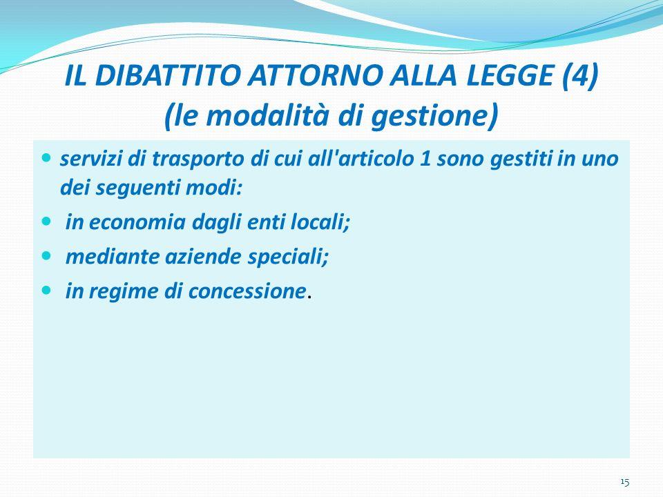 IL DIBATTITO ATTORNO ALLA LEGGE (4) (le modalità di gestione) servizi di trasporto di cui all articolo 1 sono gestiti in uno dei seguenti modi: in economia dagli enti locali; mediante aziende speciali; in regime di concessione.