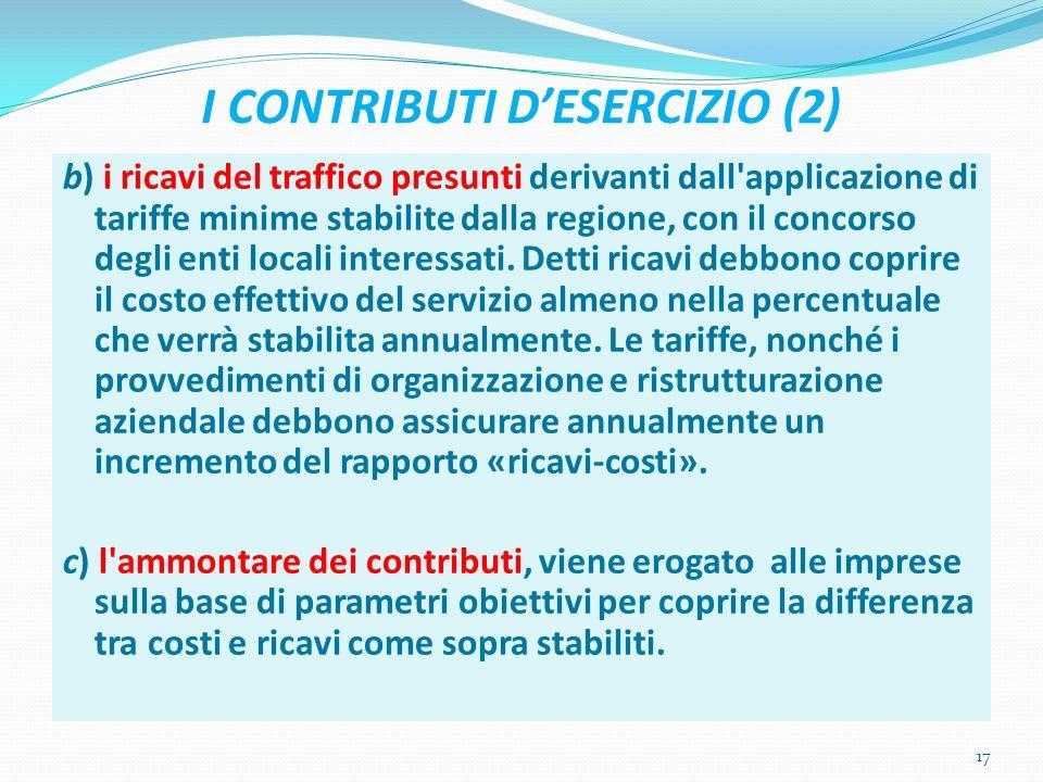 I CONTRIBUTI DESERCIZIO (2) b) i ricavi del traffico presunti derivanti dall applicazione di tariffe minime stabilite dalla regione, con il concorso degli enti locali interessati.