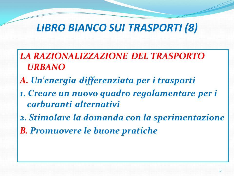 LIBRO BIANCO SUI TRASPORTI (8) LA RAZIONALIZZAZIONE DEL TRASPORTO URBANO A.