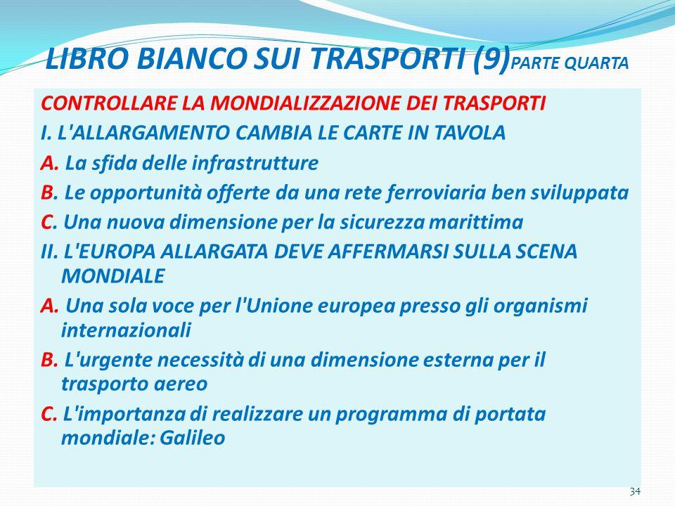 LIBRO BIANCO SUI TRASPORTI (9) PARTE QUARTA CONTROLLARE LA MONDIALIZZAZIONE DEI TRASPORTI I.