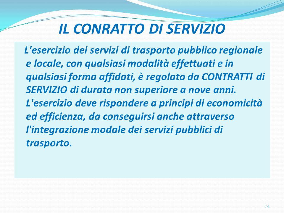 IL CONRATTO DI SERVIZIO L esercizio dei servizi di trasporto pubblico regionale e locale, con qualsiasi modalità effettuati e in qualsiasi forma affidati, è regolato da CONTRATTI di SERVIZIO di durata non superiore a nove anni.