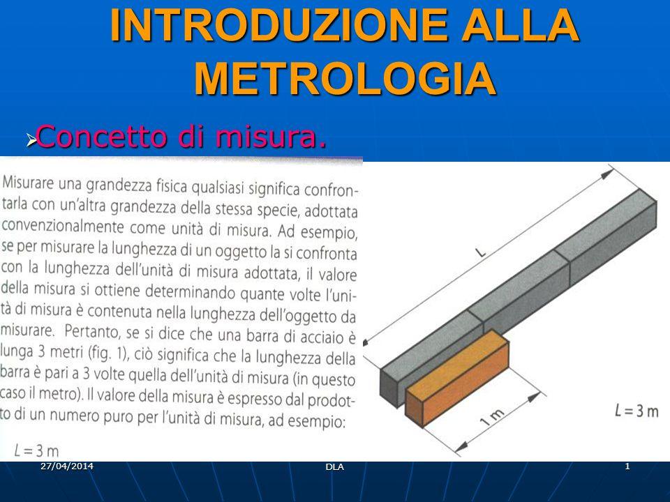 27/04/2014 DLA 1 INTRODUZIONE ALLA METROLOGIA Concetto di misura. Concetto di misura.