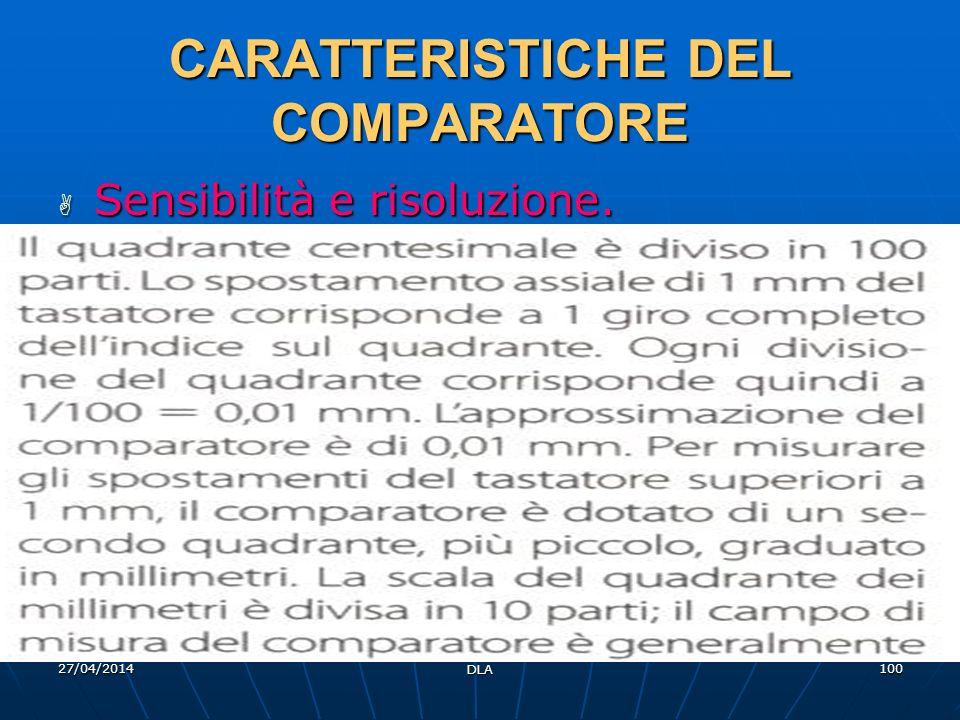 27/04/2014 DLA 100 CARATTERISTICHE DEL COMPARATORE Sensibilità e risoluzione. Sensibilità e risoluzione.