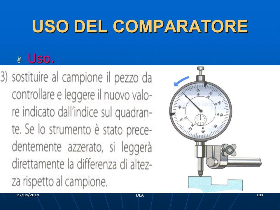 27/04/2014 DLA 104 USO DEL COMPARATORE Uso. Uso.