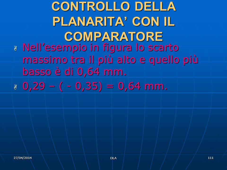 27/04/2014 DLA 111 CONTROLLO DELLA PLANARITA CON IL COMPARATORE Nellesempio in figura lo scarto massimo tra il più alto e quello più basso è di 0,64 m