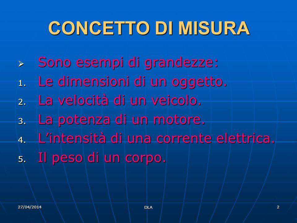 27/04/2014 DLA 2 CONCETTO DI MISURA Sono esempi di grandezze: Sono esempi di grandezze: 1. Le dimensioni di un oggetto. 2. La velocità di un veicolo.